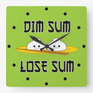 Dim Sum Lose Sum Square Wall Clock