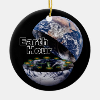 Dim The Lights For Earth Hour Ceramic Ornament