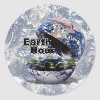 Dim The Lights For Earth Hour (Earth Open) Round Stickers