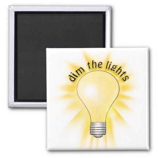 Dim the Lights - Lightbulb 2 Inch Square Magnet
