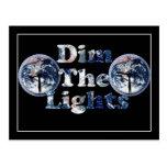 Dim The Lights Text Image w/Clocks Post Cards