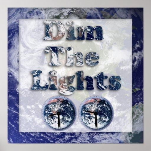 Dim The Lights Text Image w/Clocks Print