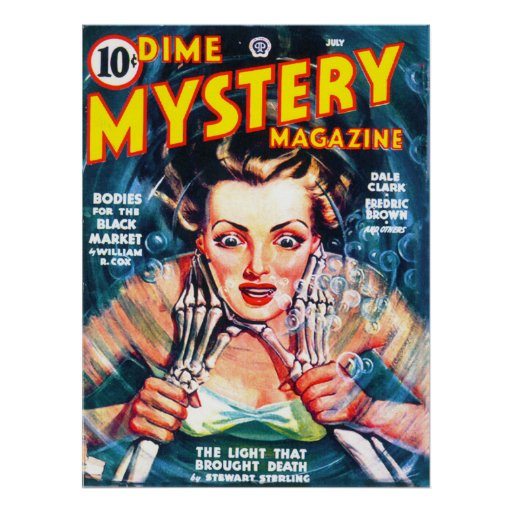 DIME MYSTERY Cool Vintage Pulp Magazine Cover Art Poster