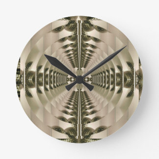 Dimensional Brassy Hypnotic Pop Art Pattern Round Clock