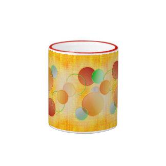 Dimensional Circles (yellow linen) Coffee Mugs