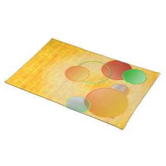 Dimensional Circles (yellow linen) Placemats