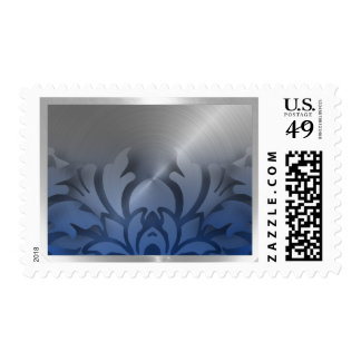 Dimensional Look Damask Border Blue Silver Postage