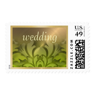 Dimensional Look Damask Border Gold Lime Green Postage Stamps