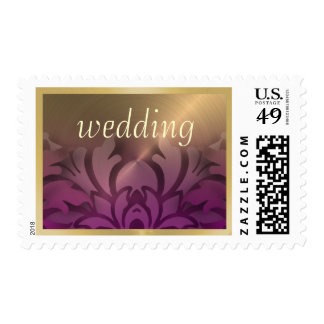 Dimensional Look Damask Border Gold Purple Stamps