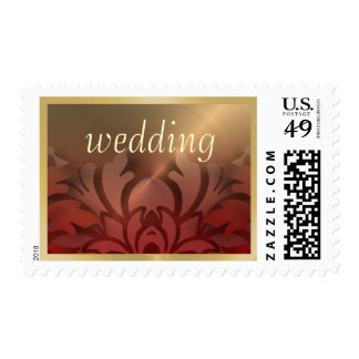 Dimensional Look Damask Border Gold Red Postage Stamps