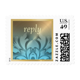 Dimensional Look Damask Border Gold Turquoise Postage