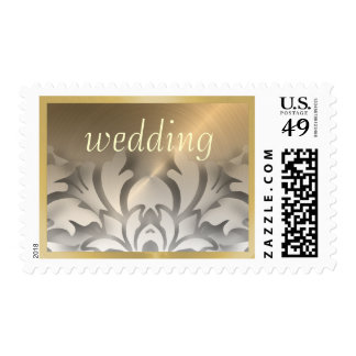 Dimensional Look Damask Border Gold White Postage