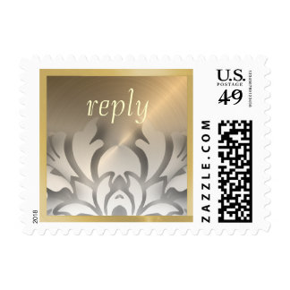 Dimensional Look Damask Border Gold White Postage Stamps