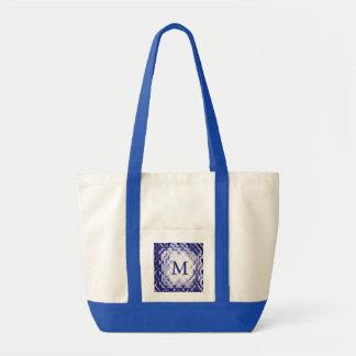 Dimensional Square-Navy-M Impulse Tote Bag
