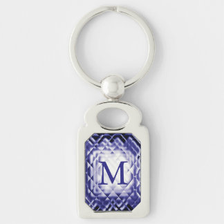 Dimensional Square-Navy-M Silver-Colored Rectangular Metal Keychain