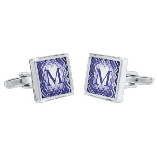 Dimensional Square-Navy-M Silver Finish Cufflinks