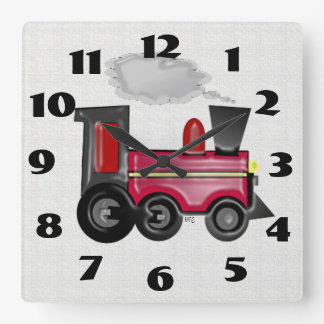 Dimensional Train Square Wall Clocks
