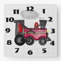 Dimensional Train Square Wall Clock