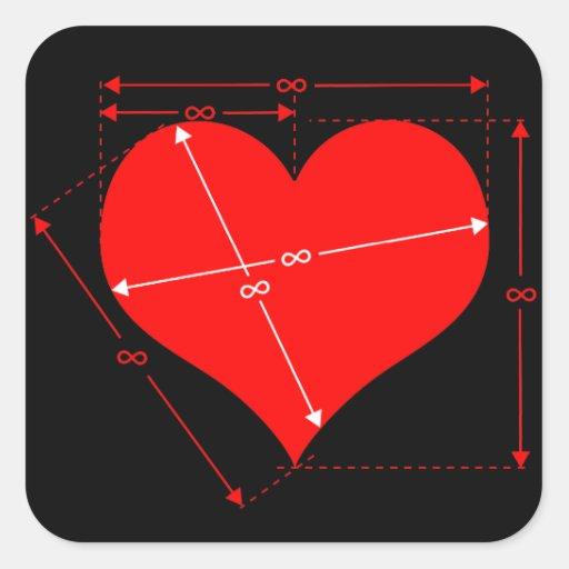 Dimensiones del amor pegatina cuadrada