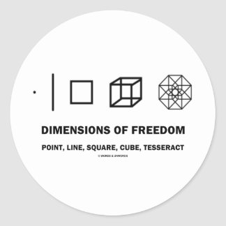 Dimensions Of Freedom (Geometry Humor) Classic Round Sticker