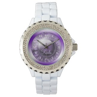 Dimensions of Purple Personalized Rhinestone Watches