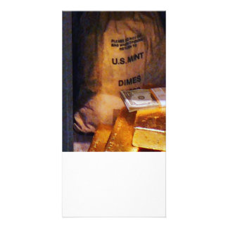 Dimes Dollars and Gold Customized Photo Card