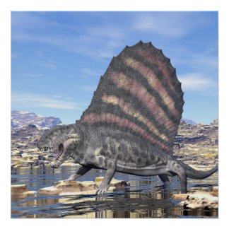 Dimetrodon in the desert - 3D render Poster