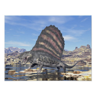 Dimetrodon standing in a pond in the desert poster