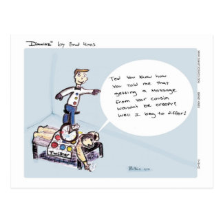 Dimwitz Unicycle Massage Postcard, by Brad Hines Postcard