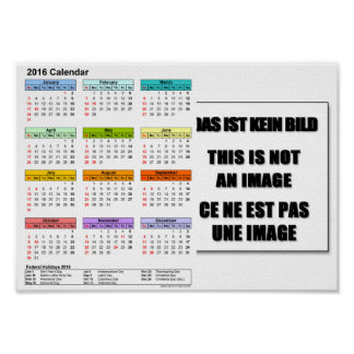 DINA4 2016-calendar-portrait-year-at-a-glance-in-c Poster