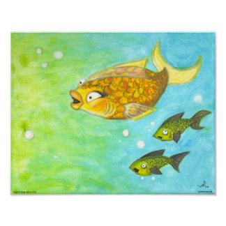 Dinah Cartoon Goldfish girl Lowbrow Fish Art Print