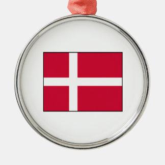 Dinamarca - bandera danesa adorno redondo plateado