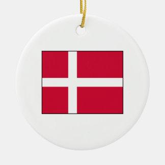 Dinamarca - bandera danesa adorno redondo de cerámica