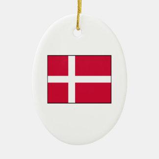 Dinamarca - bandera danesa adorno ovalado de cerámica