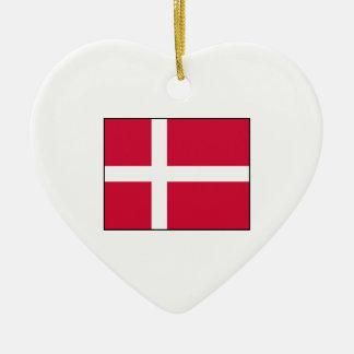 Dinamarca - bandera danesa adorno de cerámica en forma de corazón