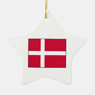 Dinamarca - bandera danesa adorno de cerámica en forma de estrella