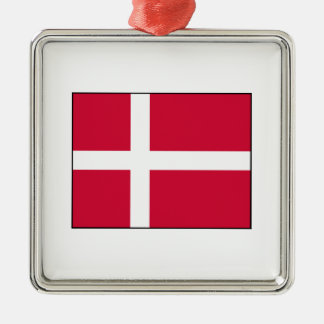 Dinamarca - bandera danesa adorno cuadrado plateado