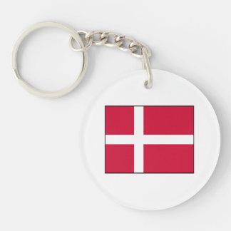 Dinamarca - bandera danesa llavero redondo acrílico a doble cara