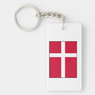 Dinamarca - bandera danesa llavero rectangular acrílico a doble cara
