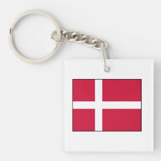 Dinamarca - bandera danesa llavero cuadrado acrílico a doble cara