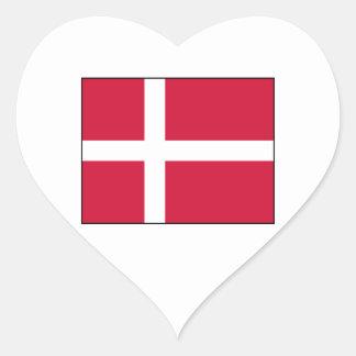 Dinamarca - bandera danesa pegatina en forma de corazón
