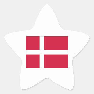 Dinamarca - bandera danesa pegatina en forma de estrella
