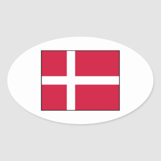Dinamarca - bandera danesa pegatina ovalada