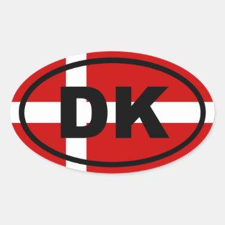 Dinamarca - DK - europeo Calcomanía Oval Personalizadas