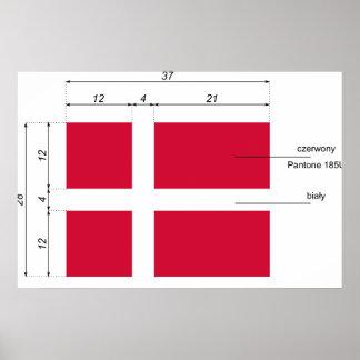 Dinamarca-Proporciones, bandera de Dinamarca Póster