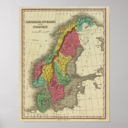 Dinamarca, Suecia, y Noruega Póster