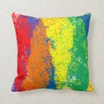 Dinámico, diversión, y arco iris abstracto colorid almohada