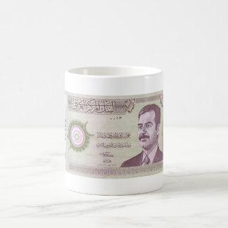 Dinar iraquí con Saddam Hussein Taza Básica Blanca