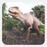 Dinasaur Calcomania Cuadrada Personalizada