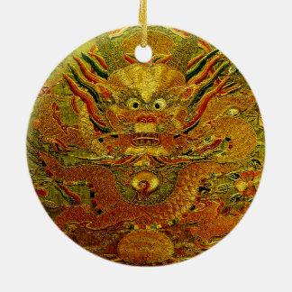 Dinastía de Ming china del bordado del dragón de Adorno Navideño Redondo De Cerámica